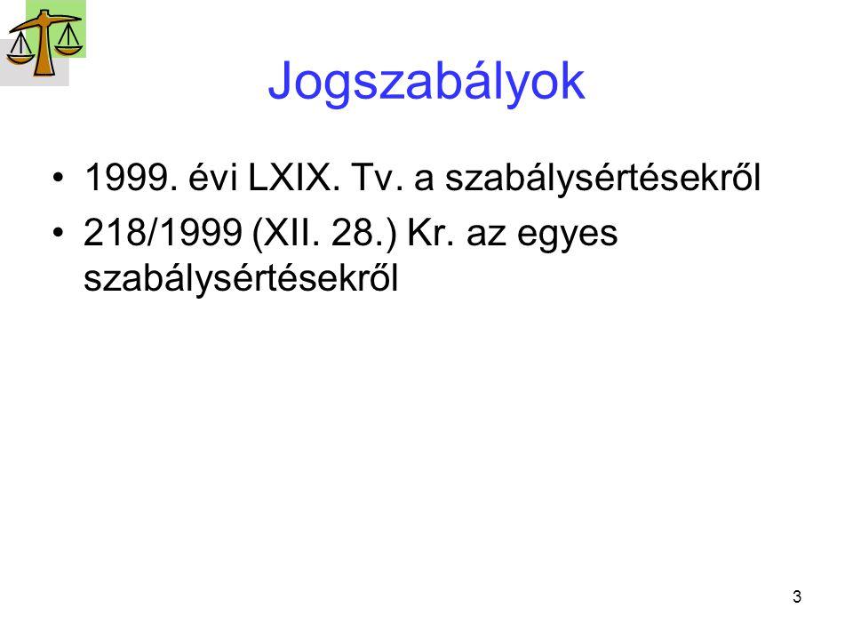 Jogszabályok 1999. évi LXIX. Tv. a szabálysértésekről