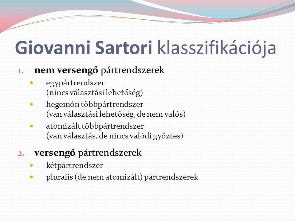 Giovanni Sartori klasszifikációja