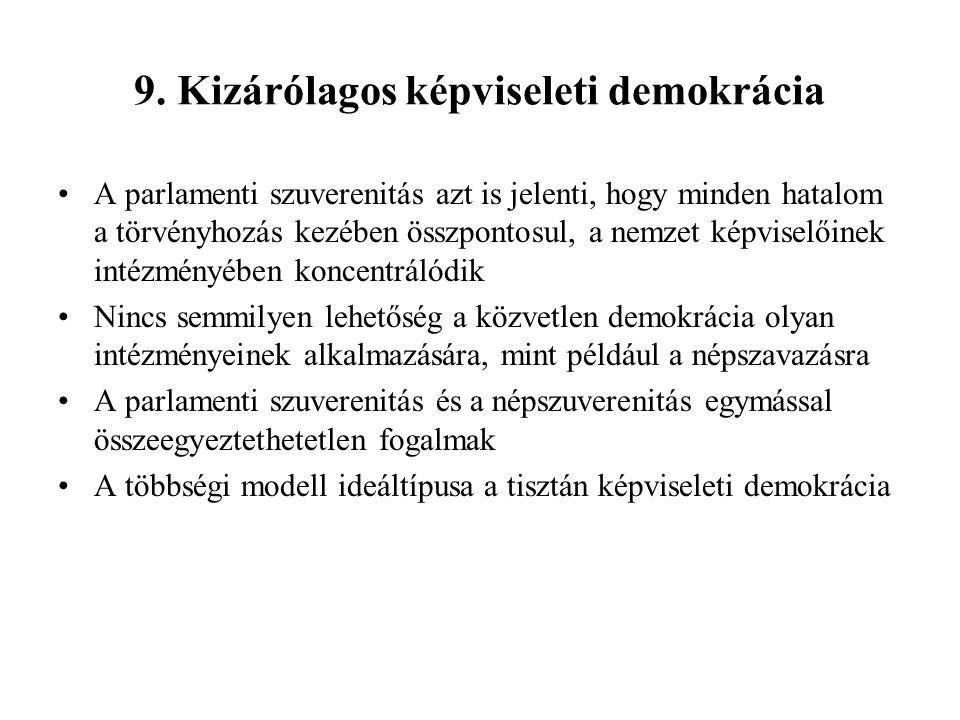 9. Kizárólagos képviseleti demokrácia