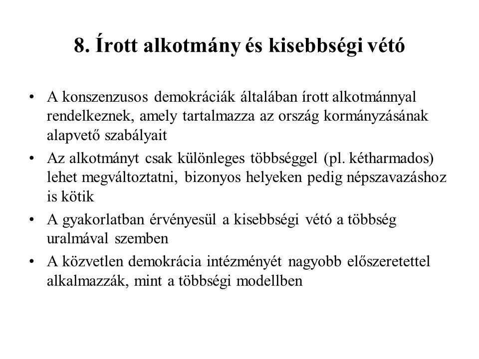 8. Írott alkotmány és kisebbségi vétó