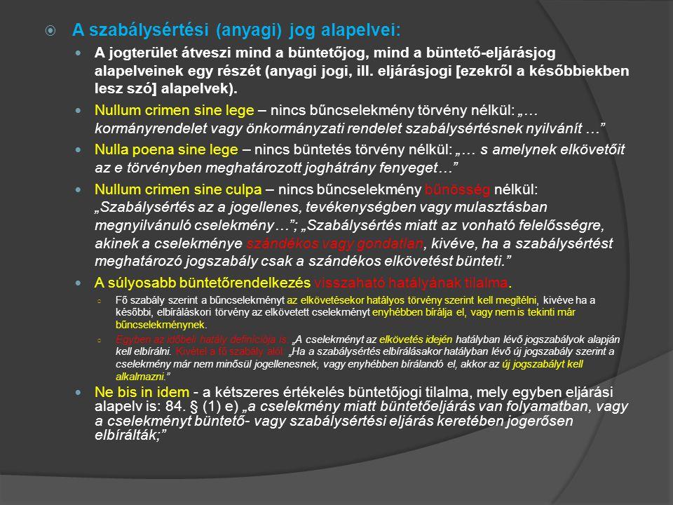 A szabálysértési (anyagi) jog alapelvei: