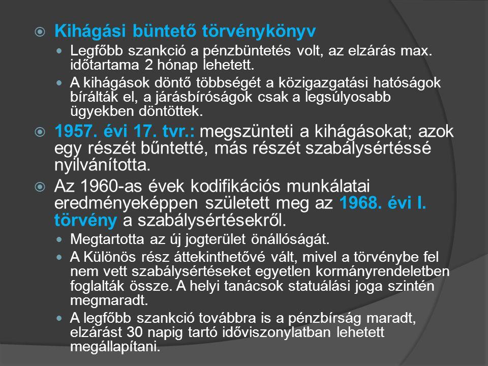 Kihágási büntető törvénykönyv