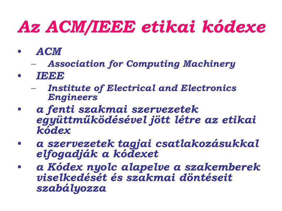 Az ACM/IEEE etikai kódexe