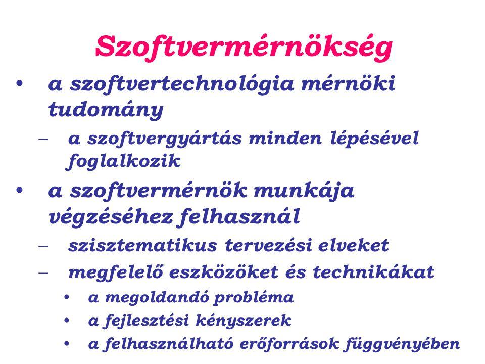 Szoftvermérnökség a szoftvertechnológia mérnöki tudomány