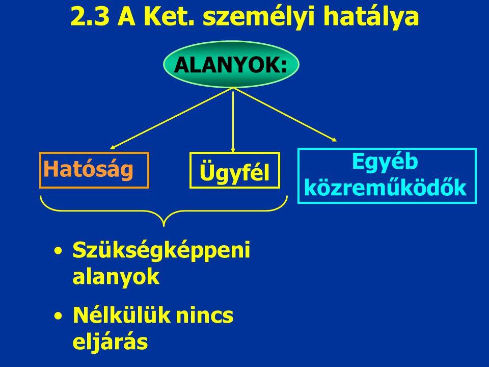 2.3 A Ket. személyi hatálya ALANYOK: Egyéb közreműködők Hatóság Ügyfél