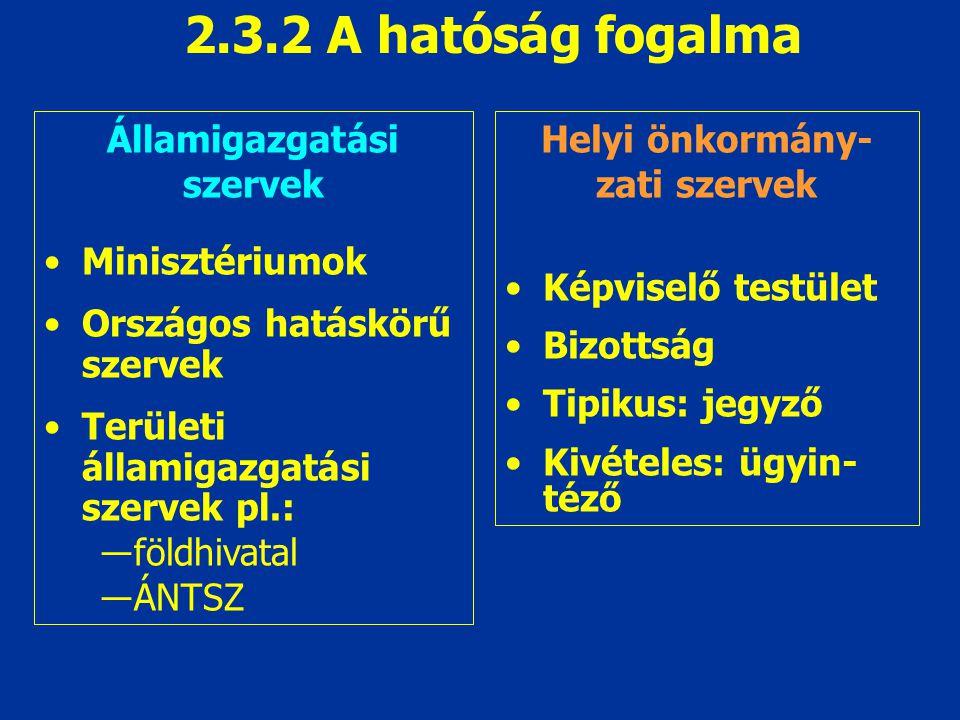 2.3.2 A hatóság fogalma Államigazgatási szervek Minisztériumok