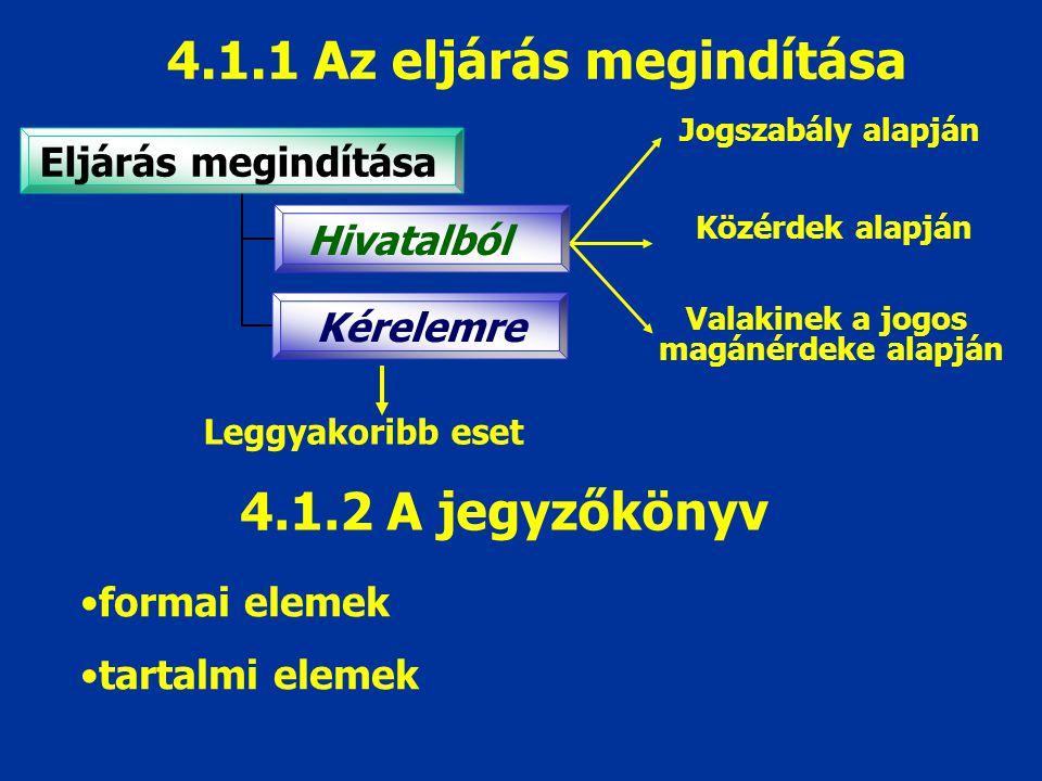 4.1.1 Az eljárás megindítása