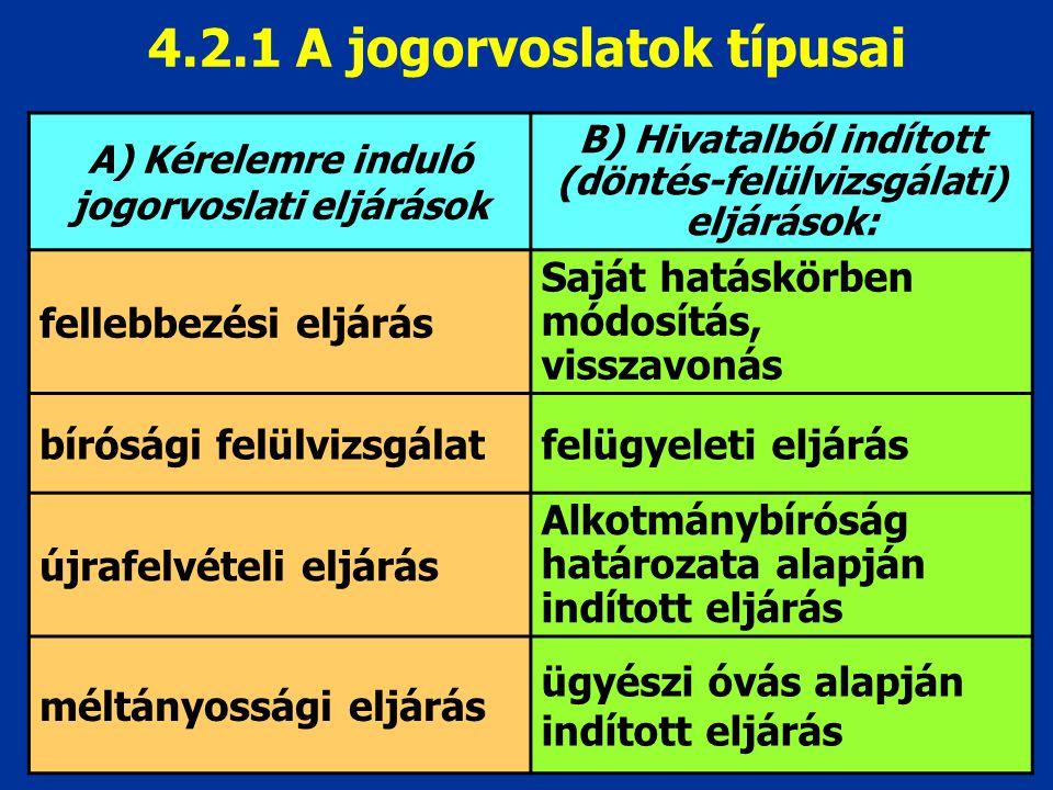 4.2.1 A jogorvoslatok típusai
