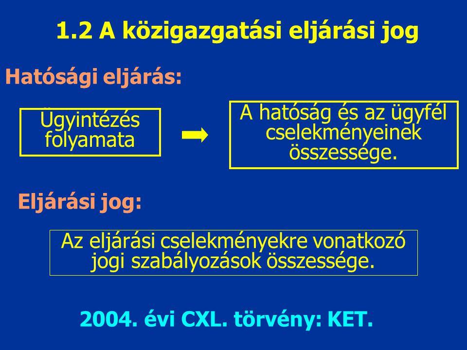1.2 A közigazgatási eljárási jog