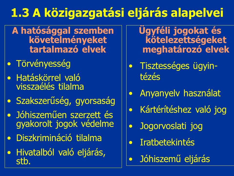 1.3 A közigazgatási eljárás alapelvei