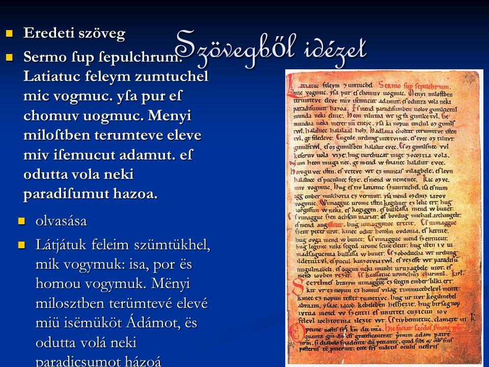 Szövegből idézet Eredeti szöveg