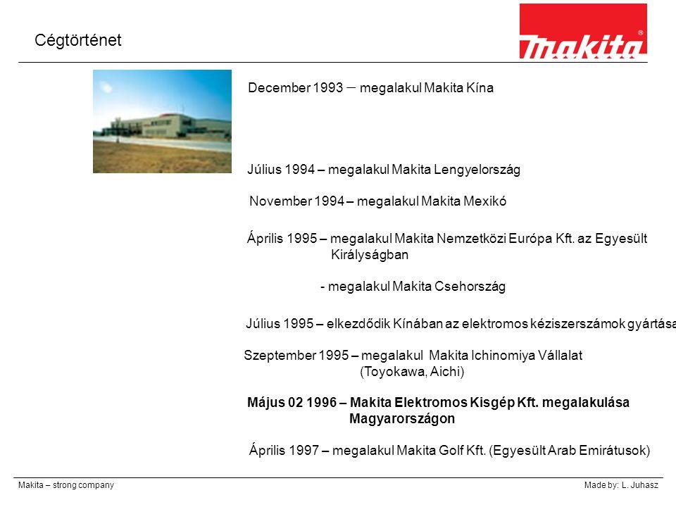 Cégtörténet December 1993 – megalakul Makita Kína