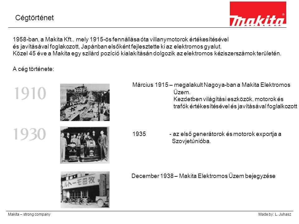 Március 1915 – megalakult Nagoya-ban a Makita Elektromos