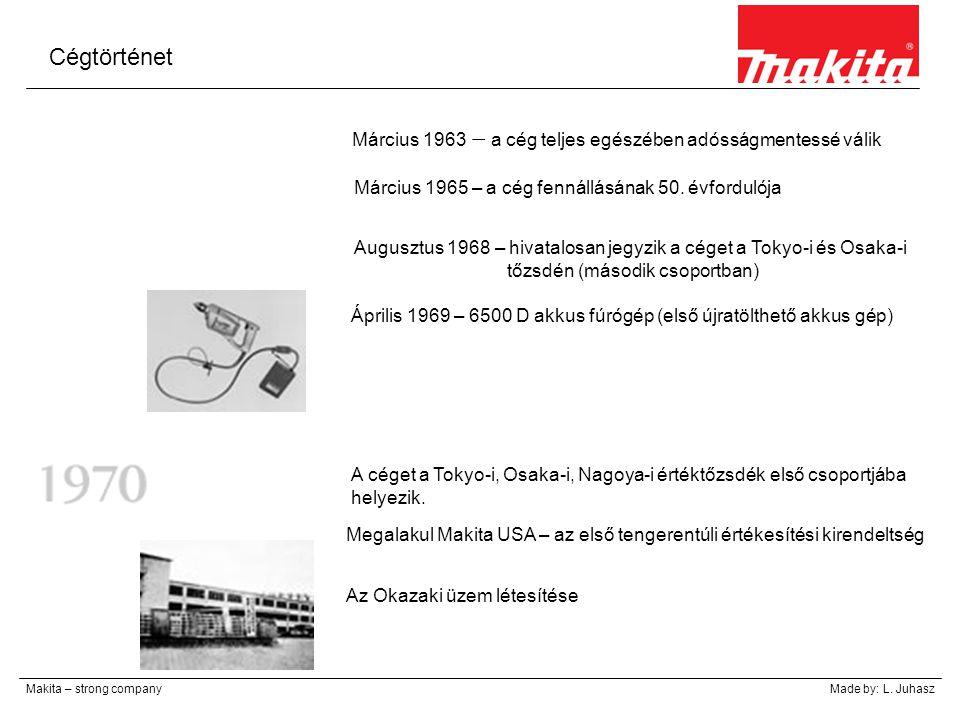 Cégtörténet Március 1963 – a cég teljes egészében adósságmentessé válik. Március 1965 – a cég fennállásának 50. évfordulója.