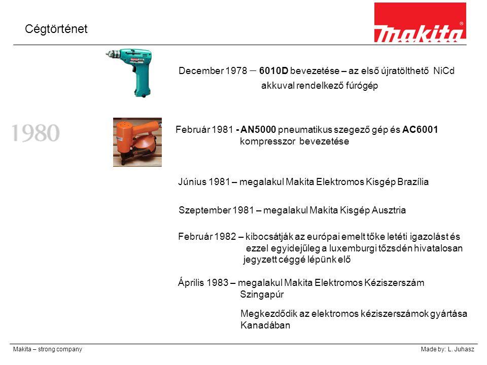 Cégtörténet December 1978 – 6010D bevezetése – az első újratölthető NiCd. akkuval rendelkező fúrógép.