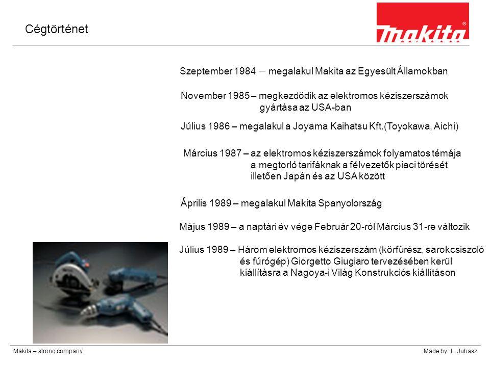 Cégtörténet Szeptember 1984 – megalakul Makita az Egyesült Államokban