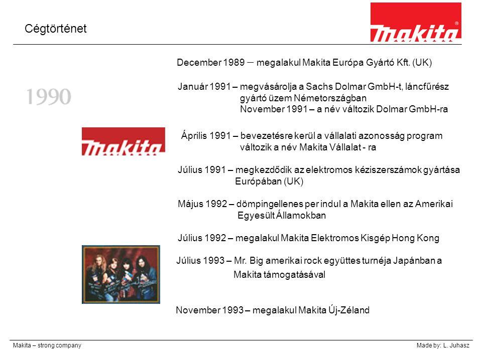 Cégtörténet December 1989 – megalakul Makita Európa Gyártó Kft. (UK)
