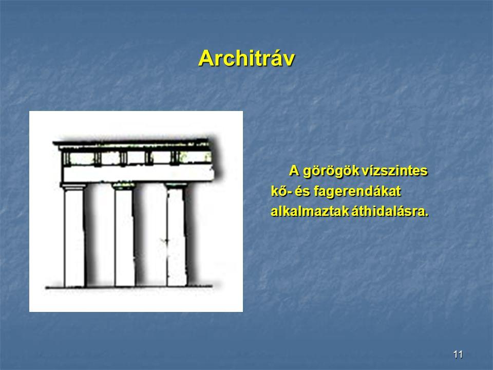 Architráv A görögök vízszintes kő- és fagerendákat