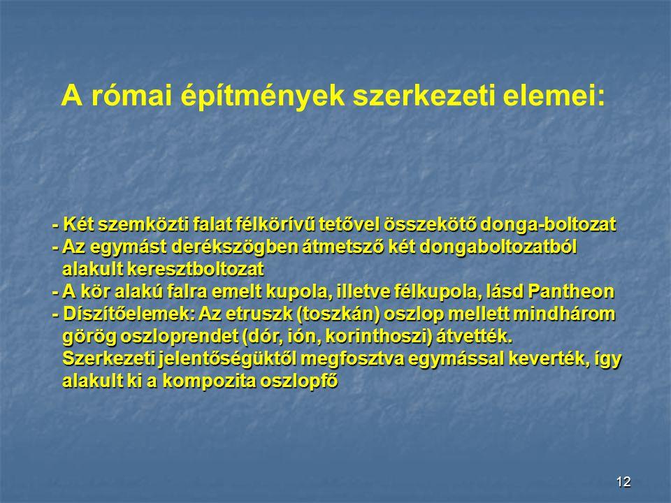 A római építmények szerkezeti elemei: