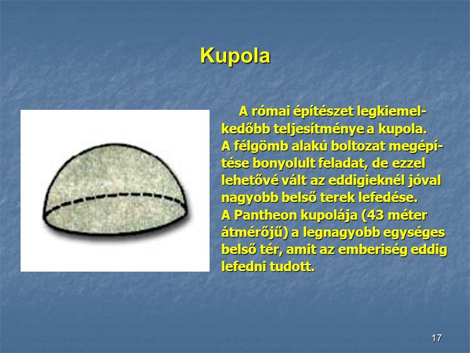 Kupola A római építészet legkiemel- kedőbb teljesítménye a kupola.