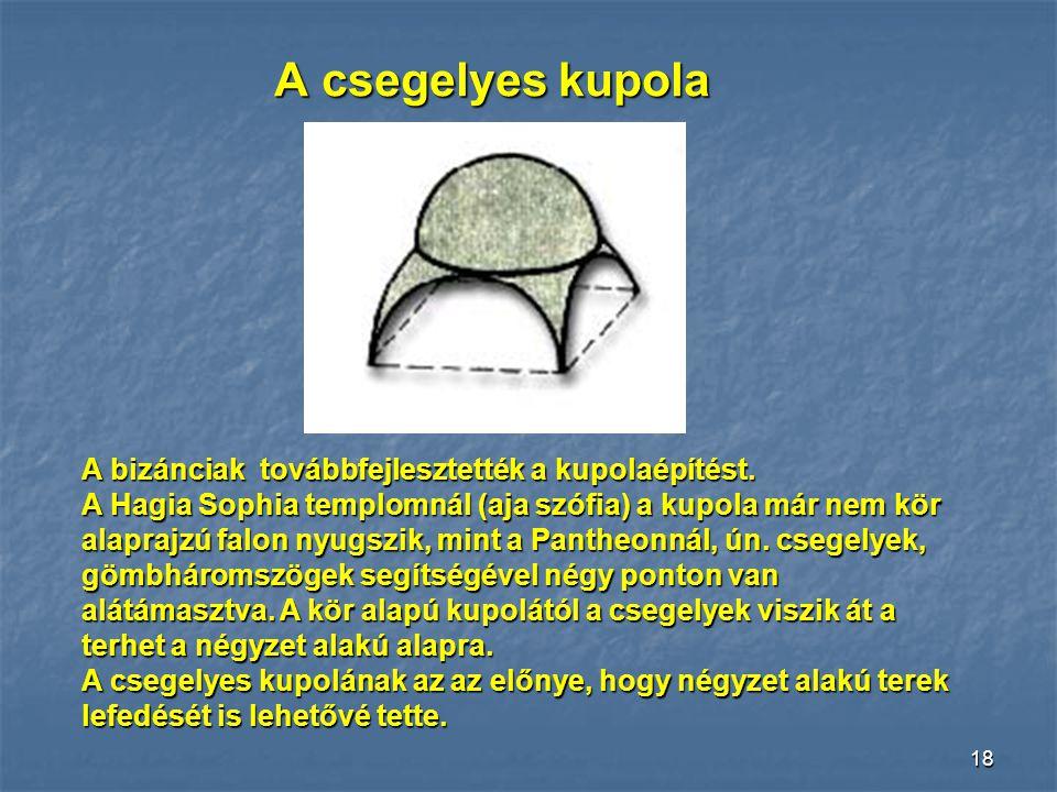 A csegelyes kupola A bizánciak továbbfejlesztették a kupolaépítést.