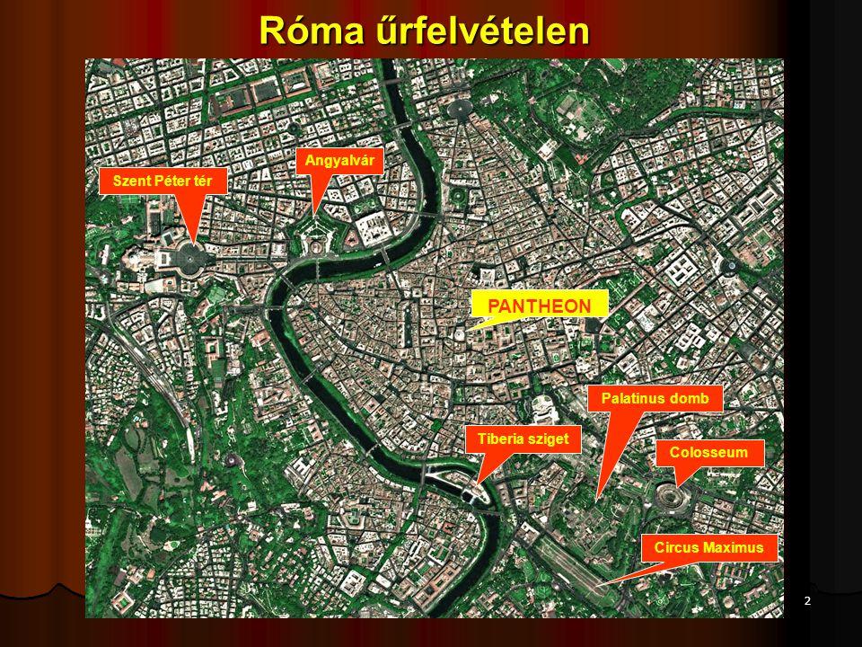 Róma űrfelvételen PANTHEON Angyalvár Szent Péter tér Palatinus domb