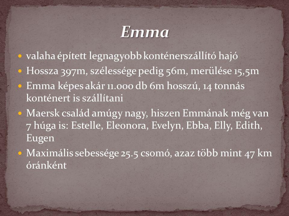 Emma valaha épített legnagyobb konténerszállító hajó
