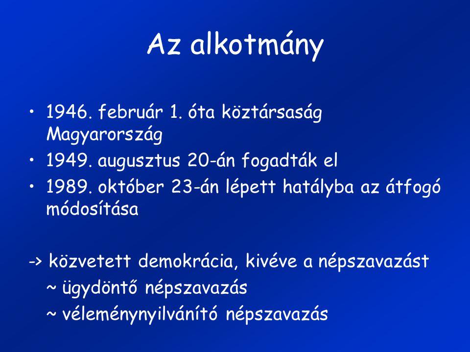 Az alkotmány 1946. február 1. óta köztársaság Magyarország