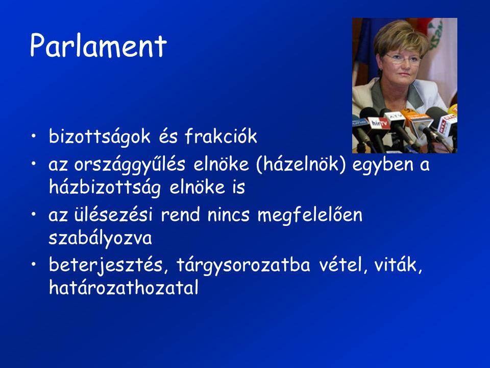 Parlament bizottságok és frakciók
