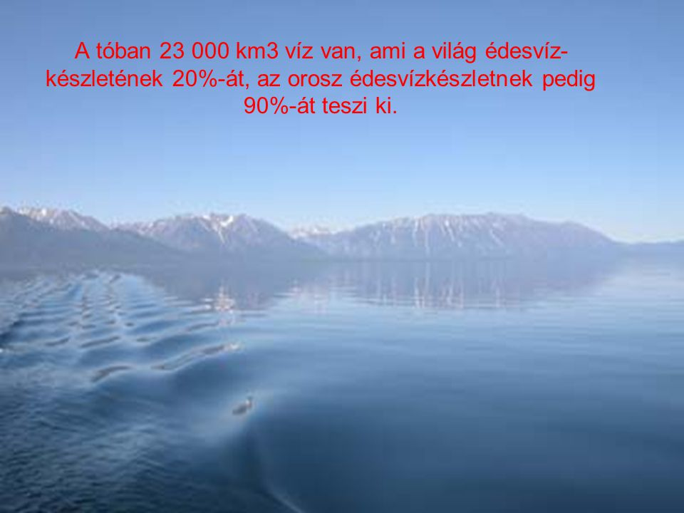 A tóban 23 000 km3 víz van, ami a világ édesvíz-készletének 20%-át, az orosz édesvízkészletnek pedig 90%-át teszi ki.