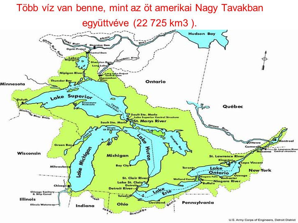 Több víz van benne, mint az öt amerikai Nagy Tavakban együttvéve (22 725 km3 ).