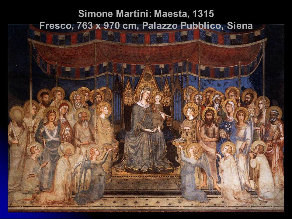 Simone Martini: Maesta, 1315 Fresco, 763 x 970 cm, Palazzo Pubblico, Siena