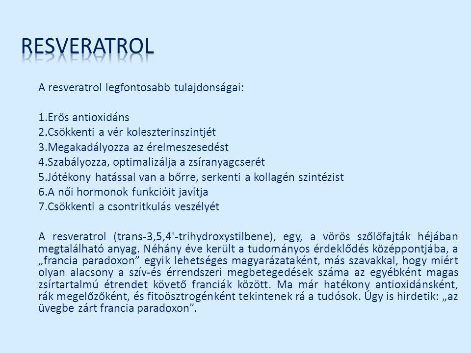 resveratrol 1.Erős antioxidáns 2.Csökkenti a vér koleszterinszintjét