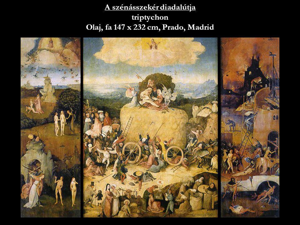 A szénásszekér diadalútja triptychon Olaj, fa 147 x 232 cm, Prado, Madrid