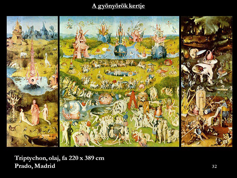 A gyönyörök kertje Triptychon, olaj, fa 220 x 389 cm Prado, Madrid