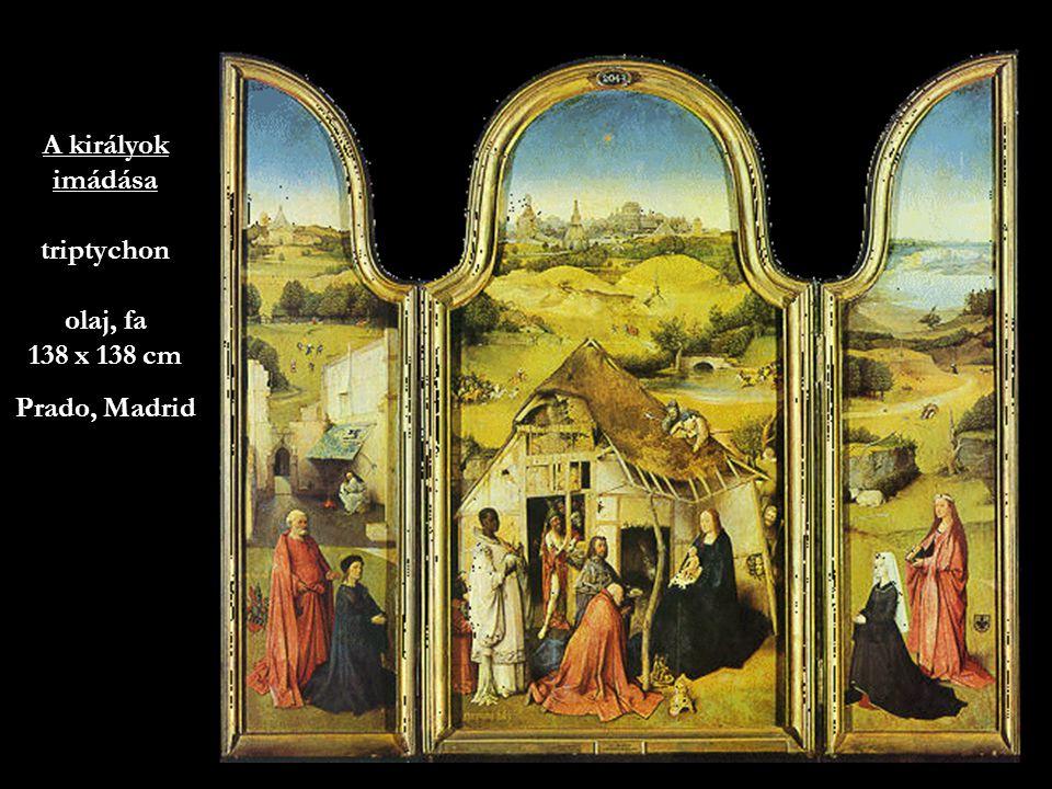 A királyok imádása triptychon olaj, fa 138 x 138 cm