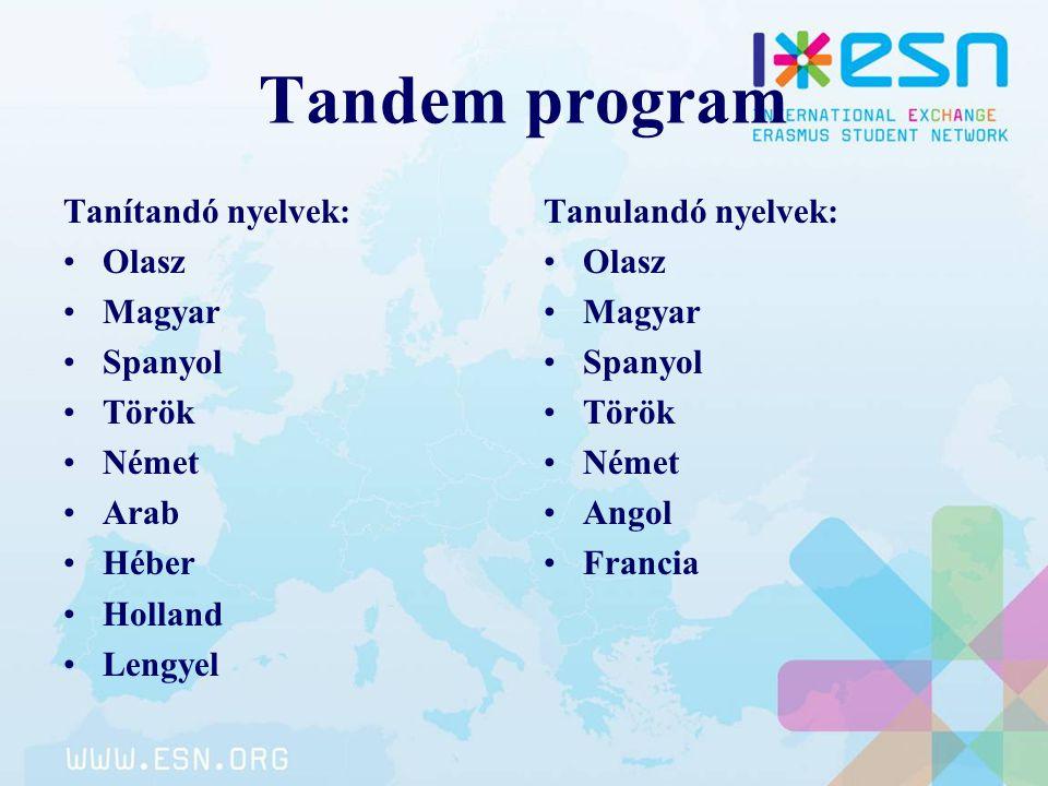 Tandem program Tanítandó nyelvek: Olasz Magyar Spanyol Török Német