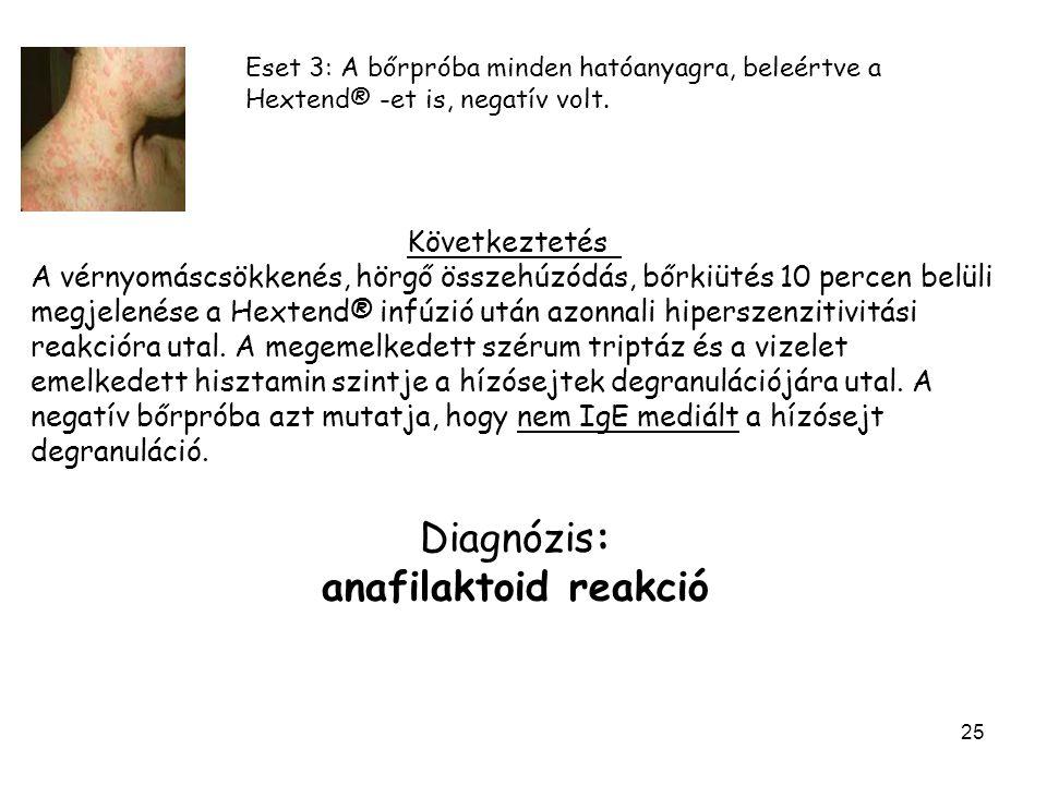 Diagnózis: anafilaktoid reakció Következtetés