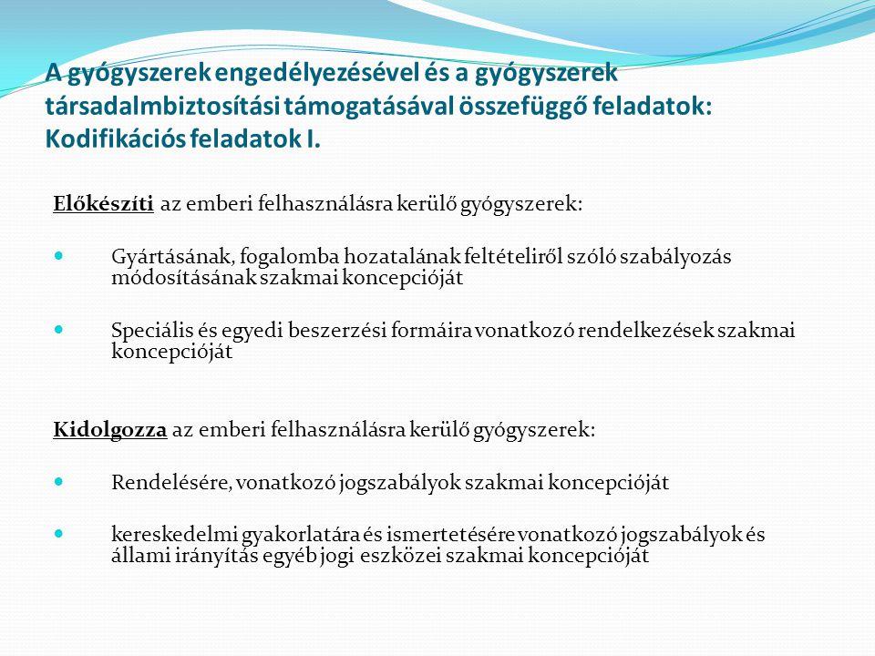 A gyógyszerek engedélyezésével és a gyógyszerek társadalmbiztosítási támogatásával összefüggő feladatok: Kodifikációs feladatok I.