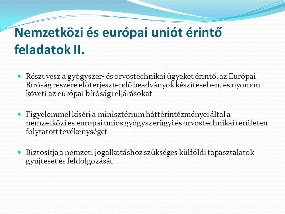 Nemzetközi és európai uniót érintő feladatok II.