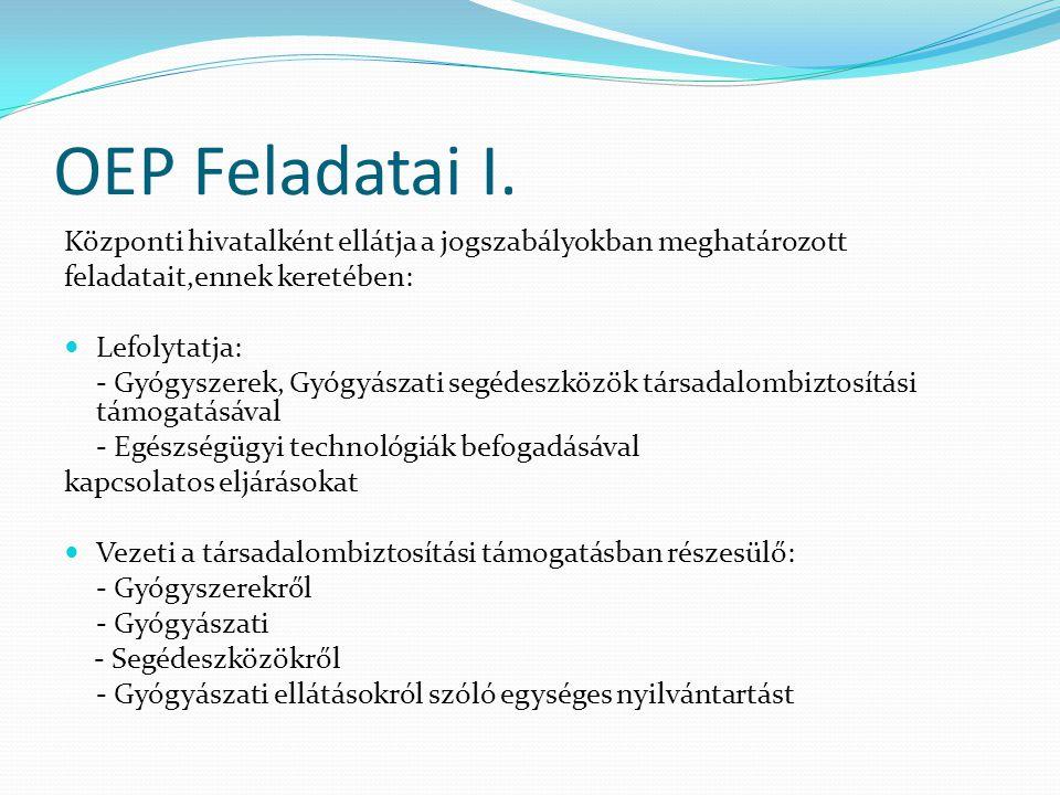 OEP Feladatai I. Központi hivatalként ellátja a jogszabályokban meghatározott. feladatait,ennek keretében: