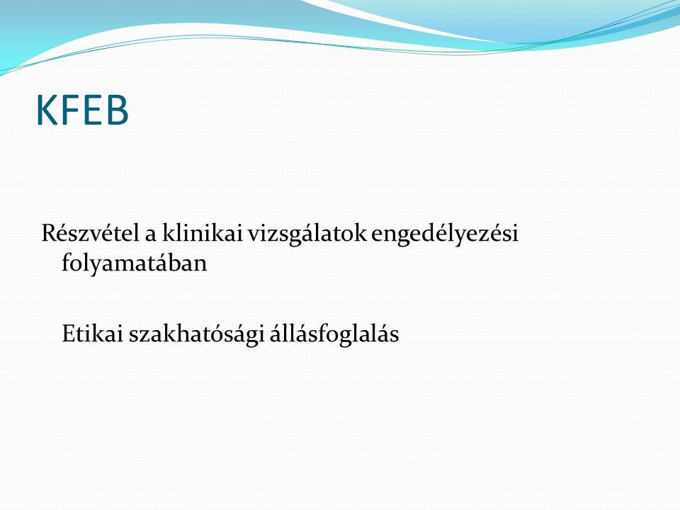 KFEB Részvétel a klinikai vizsgálatok engedélyezési folyamatában Etikai szakhatósági állásfoglalás