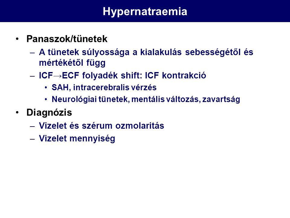 Hypernatraemia Panaszok/tünetek Diagnózis