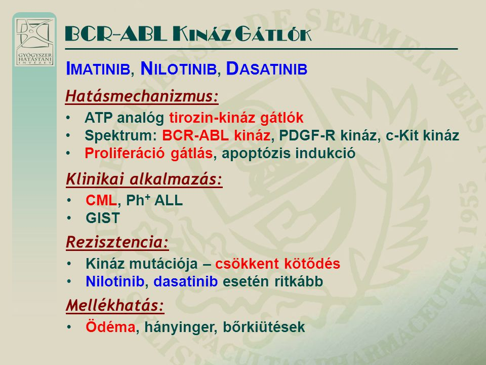 BCR-ABL KINÁZ GÁTLÓK IMATINIB, NILOTINIB, DASATINIB Hatásmechanizmus: