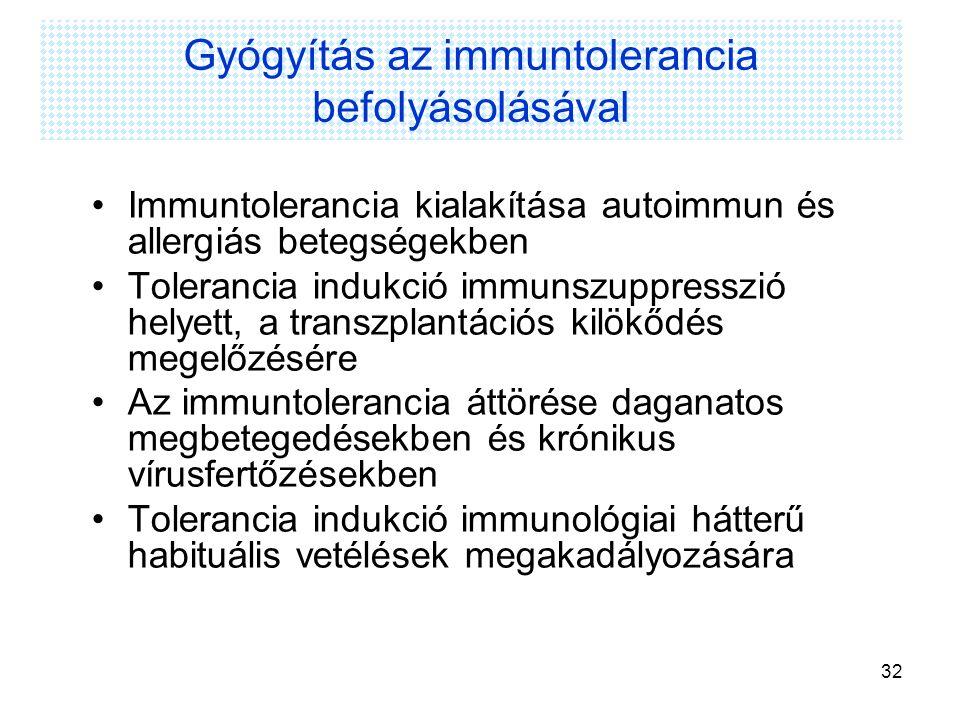 Gyógyítás az immuntolerancia befolyásolásával