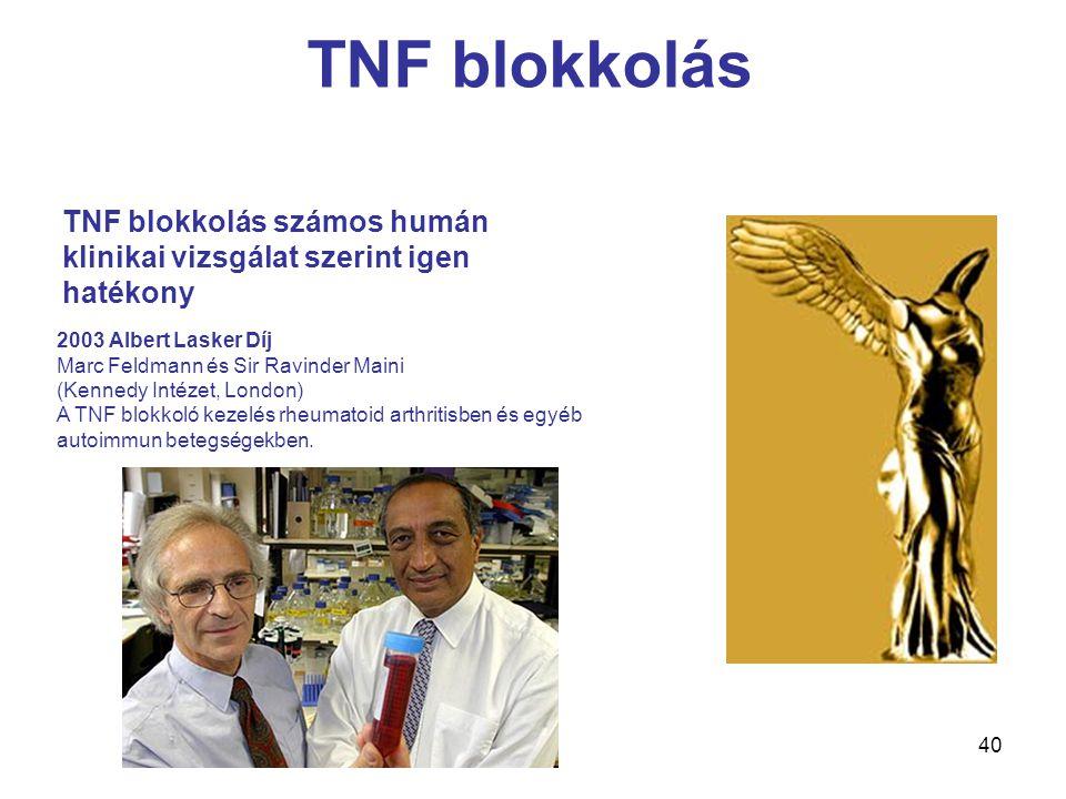TNF blokkolás TNF blokkolás számos humán klinikai vizsgálat szerint igen hatékony. 2003 Albert Lasker Díj Marc Feldmann és Sir Ravinder Maini.