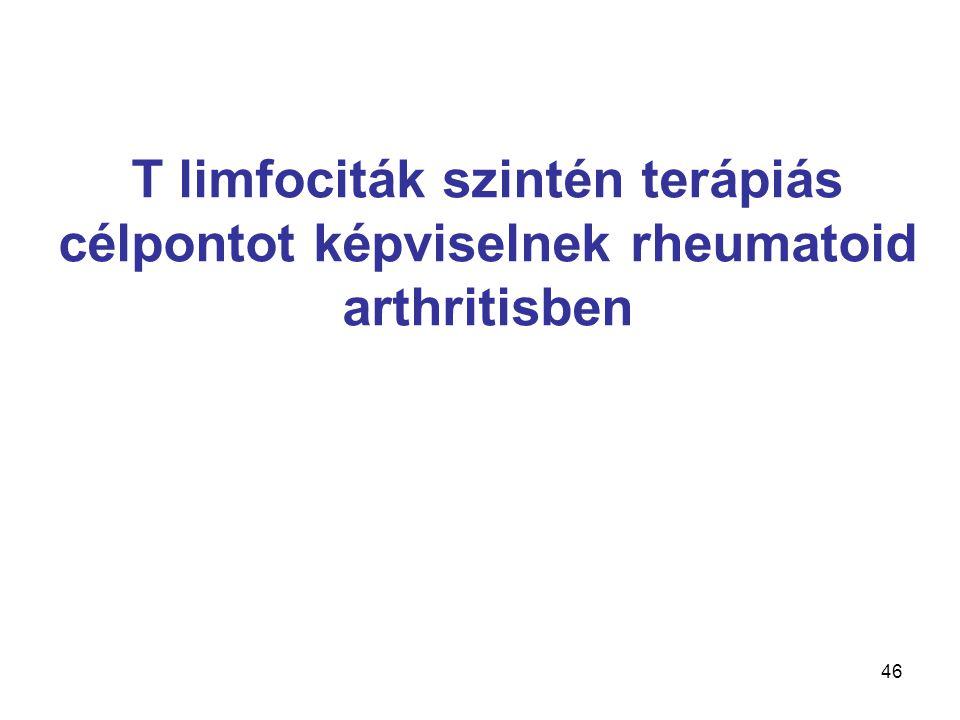 T limfociták szintén terápiás célpontot képviselnek rheumatoid arthritisben