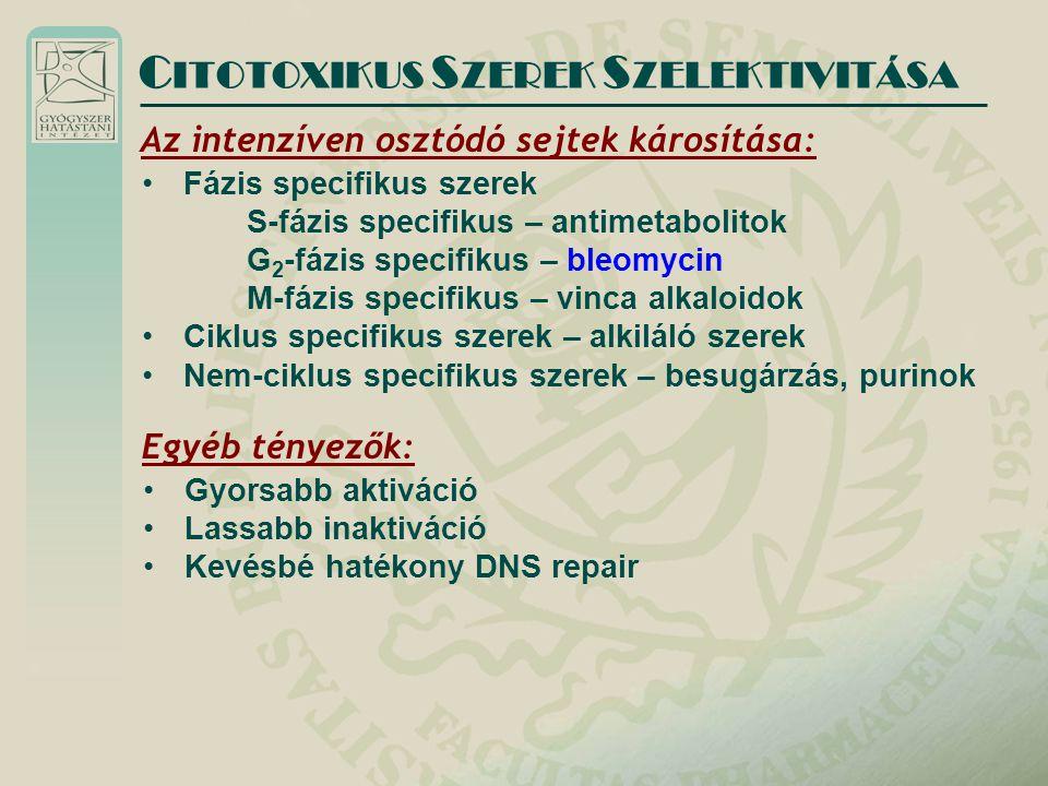CITOTOXIKUS SZEREK SZELEKTIVITÁSA