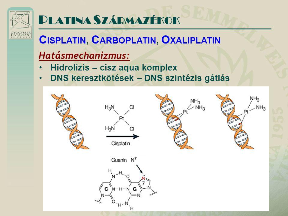 PLATINA SZÁRMAZÉKOK CISPLATIN, CARBOPLATIN, OXALIPLATIN
