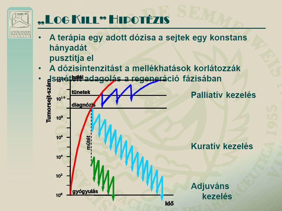 """""""LOG KILL HIPOTÉZIS A terápia egy adott dózisa a sejtek egy konstans hányadát. pusztítja el. A dózisintenzitást a mellékhatások korlátozzák."""